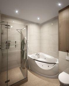 Современная ванная комната с душем | Студия LESH (дизайн ванной, маленькая ванная, джакузи, душевая кабина, душ, современная ванная комната, светлая ванная)