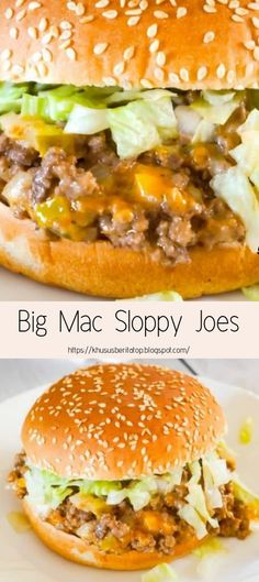 Big Mac Sloppy Joes are an easy ground beef dinner recipe perfect for weeknights. These sloppy joes are loaded with onions, pickles and cheddar cheese all tossed in a copycat Big Mac Sauce. with ground beef Big Mac Sloppy Joes - This is Not Diet Food Beef Dishes, Food Dishes, Main Dishes, Dinner With Ground Beef, Le Diner, Comfort Foods, Tossed, Simple Recipes For Dinner, Dinner Healthy