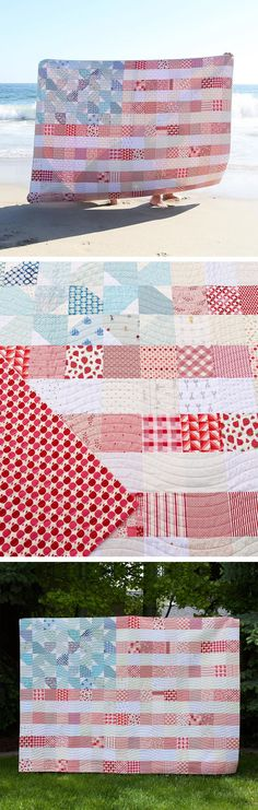 Yankee Doodle Dandy (USA Flag) Quilt Kit - Washed Out Version by Maker Valley Quilting For Beginners, Quilting Tips, Quilting Tutorials, Quilting Projects, Modern Quilting, Quilting Fabric, Sewing Projects, Stripe Quilt Pattern, Striped Quilt