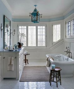 This is my dream bath for our victorian home. Coastal Bathrooms, Dream Bathrooms, Beautiful Bathrooms, Master Bathrooms, Family Bathroom, New England Homes, New Homes, Interiores Design, Bathroom Inspiration