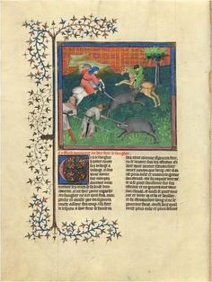 Dispatching the Wild Boar | Fol. 84v | The Morgan Library & Museum