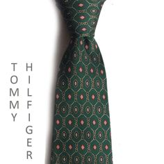"Tommy Hilfiger men #silk dress tie 3.5"" wide 58"" long green with red Tommyhilfiger visit our ebay store at  http://stores.ebay.com/esquirestore"