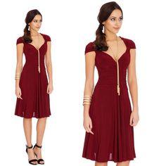 Vestito cocktail leggero rosso bordeaux Goddiva. Lorcastyle 91271b6efe8