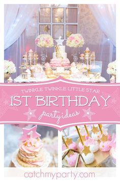 Swoon over this gorgeous Twinkle Twinkle 1st birthday party! The dessert table is so so pretty!! See more party ideas and share yours at CatchMyParty.com #catchmyparty #partyideas #twinkleywinklelittlestar #babyshower