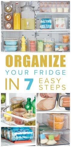 Organize your fridge with these quick and easy steps. Refrigerator Organization, Household Organization, Home Office Organization, Organizing Your Home, Organization Ideas, Organized Fridge, Freezer Organization, Storage Ideas, Under Sink Storage