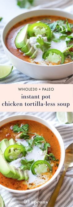 This Whole30 Instant Pot chicken tortilla-less soup is full of flavor and so easy to make thanks to ROTEL! A delicious Whole30 soup this paleo chicken tortilla soup comes together quickly and doesn't heat up the kitchen. Perfect for an anytime fiesta! You'll love this Whole30 Instant Pot recipe and it might just become your new favorite Whole30 soup! #whole30 #paleo #instantpot #chicken #soup #mexicanfood #wholefoods #healthy #paleodessert Paleo Soup, Paleo Chicken Soup, Chicken Soups, Healthy Soup, Paleo Crock Pot, Instapot Chicken Soup, Paleo Whole 30, Whole 30 Recipes, Dinner Ideas