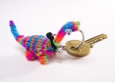 Hand Knitted Miniature Dinosaur Keyring - Multicoloured £8.50