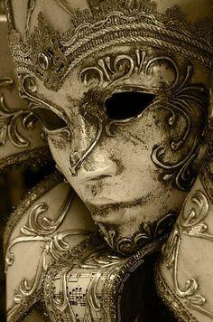 Silver Venetian Mask, by Massimo Santo