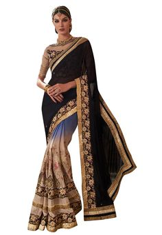 #Beautiful #Black And #Blue And #Beige #Georgette #Saree With Blouse Black And Blue And Beige Georgette Saree designed with Heavy Zari,Resham Embroidery With Stone Work And Lace Border. As shown Black And Beige Banglori Silk And Net Blouse fabric is available which can be customized as per requirements.  INR:-3,938.00 only #With #Exciting #Offer Shop Now At http://tinyurl.com/jaezqrl