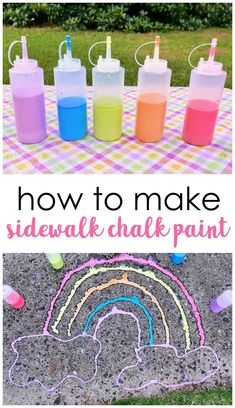 DIY Outdoor Chalk Paint- fun summer kids activity to do. Easy sidewalk chalk paint to make! Summer Preschool Activities, Senses Preschool, Preschool Arts And Crafts, Daycare Crafts, Easy Crafts For Kids, Summer Crafts, Toddler Crafts, Art For Kids, Toddler Stuff