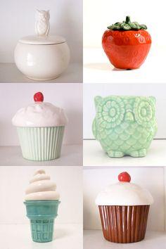 ceramic containers, owl, strawberry, cupcake, ice cream cone