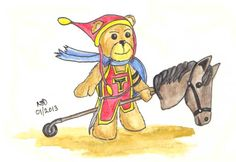 Tristan on his horse - a concept image for A Teddy Bear Tale by Author Nick Davis