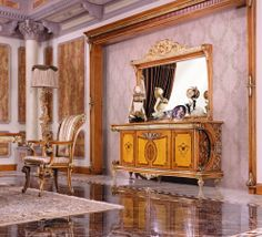 sideboard cabinet with mirror Luxury Home Furniture, Sideboard Cabinet, Gold Leaf, Wood Carving, Mirror, Home Decor, Sideboard, Wood Sculpture, Decoration Home