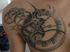 steampunk styled pocket 27 Incredible Steampunk Tattoo Idea Collection