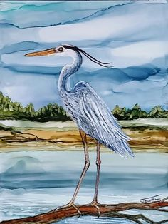 """Blue Heron  Alcohol Ink on 6x8"""" tile by Jewel Buhay"""