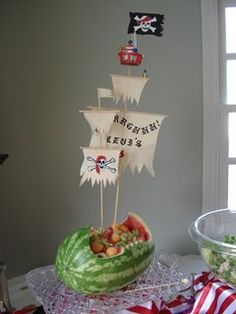 "Shower idea  #cricut watermelon pirate boat  Use basic triangle and rectangle shapes welded together in the Cricut Craft Room Attach to wooden skewers and secure in ""watermelon ship""  Enjoy!"