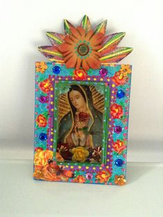 Mexican tin nicho/ shadow box shrine/ Our Lady of Guadalupe/ Mexicana/ Rainbow vibrant multicolored / Day of the Dead gift