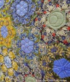 """close up, """"Grandmother - Sisters' Garden"""" by Jocelyn Thornton, New Zealand. 2015 World Quilt show, photo by Quilt Inspiration"""