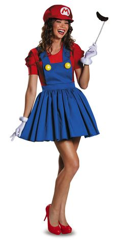 Super Mario Brothers Mario Skirt Adult Costume. For girls who love video games!