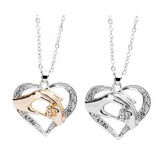 Small Hand Peach Heart Women Jewelry Chain Choker Necklace Pendant Jewelry