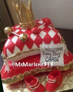 2 Tiered Red Gold And White Royalty Themed Stacked Pillows Cake W/Rattles  Baby Shoes And Crown Topper For Babyshower By #msmarlene313 #3134631459  #2tiercake ...