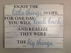 Enjoy the Little Things... Large Pallet Sign by NorthernPalletDesign on Etsy