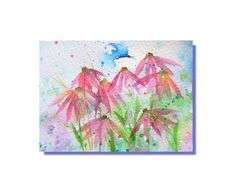 ACEO Original Art Pink Flowers Spring Butterfly  Watercolor Painting