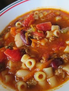 Pasta E Fagioli This soup is fantastic!  Substituted beef stock for the V8, scaled the beef down to 1/2 lb, and added 10 shakes of Tabasco. Tastes identical to Olive Gardens!