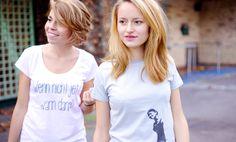 """GREEN SHIRTS zeigt euch, wie man Ökologisch und Fair Trade mit Mode und Streetwear verbindet. Hier seht ihr das Tunic Shirt """"Wenn nicht jetzt wann dann"""" und """"Trompetenfrau"""" Exklusiv nur in unserem Bio Onlineshop"""