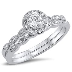 LaRaso /& Co Double Wedding Band Guard for Engagement Ring .925 Sterling Silver CZ Sizes 5-10