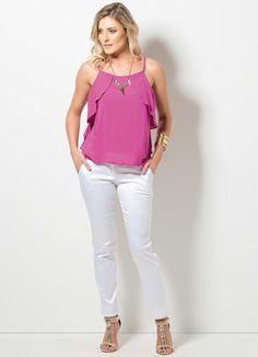 Blusa de Alça com Babados (Pink) Babados 4bd973cae0d