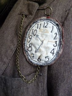 Hand made fabric fob watch brooch