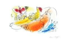 Chagall Marc : Original signed lithograph : The accordionist