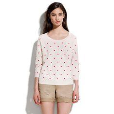 brightspot pullover - pink x red polka spots