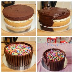 Double layer vanilla and chocolate kitkat and smarties cake. Smarties Cake, Martini, Creative Cakes, Chocolate Cake, Cheesecake, Vanilla, Strawberry, Birthday Cake, Sweets