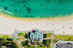 Flying over Sculpture by the Sea at Cottesloe Beach