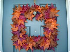 A square wreath like Thrifty Décor Chick's fall wreath made from Dollar Store leaves… can even use an old frame.