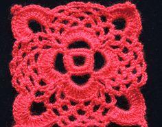 Motivo Cuadrado en Crochet para posteriorente confeccionar un individual de mesa. Parte 1 de 2