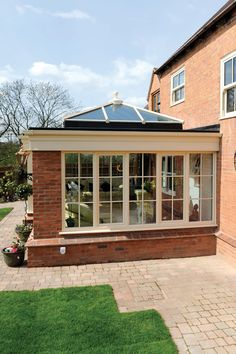 Beautiful Orangery/Sun-room, with Ultra-frame Skylight Roof, and open out French Doors, with Stunning Brickwork to Match the Existing Beautiful Property. Orangery Extension, Upvc Windows, Composite Door, Middlesbrough, Brickwork, Sunrooms, Skylight, Conservatory, High Tea