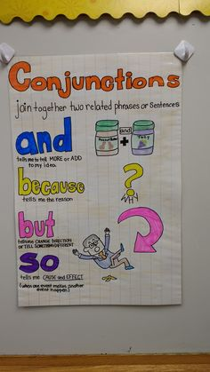 This is an anchor chart I created for my second graders to help them learn conjunctions. Teaching 5th Grade, 1st Grade Writing, Student Teaching, Teaching Aids, Good Grammar, Grammar Lessons, English Grammar, English Language, Language Arts