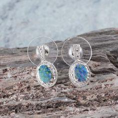 Australian Boulder Opal Earrings in Platinum Overlay Sterling Silver (Nickel Free)