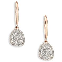Monica Vinader Nura Small Diamond Pebble Drop Earrings ($995) ❤ liked on Polyvore featuring jewelry, earrings, pave earrings, diamond jewellery, pink jewelry, rose diamond earrings and 18k diamond earrings
