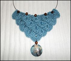 Celtic, Crochet, Crocodile Stitch, Urban Chic, Blue Bib Necklace with beads and shell pendant