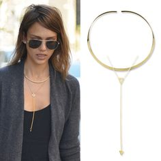 9 Celebrity-Inspired Ways to Layer Necklaces - Combine a Collar and a Lariat from #InStyle