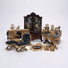 Collection of French Style Doll House Furniture: Including two bombe chests; pair of armchairs; two benches; pair of side tables; console table; three mirrors, and accessories, many with signatures including Robert Dawson and John J Hodgson