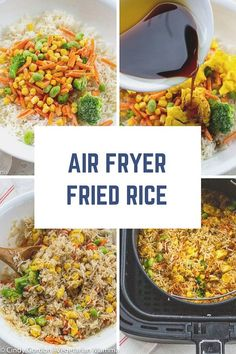 Air Fryer Fried Rice - Air Fryer Fried Rice is a quick and easy air fryer recipe. No need to order take out, this air frye - : Air Fryer Fried Rice - Air Fryer Fried Rice is a quick and easy air fryer recipe. No need to order take out, this air frye - Rice Recipes Vegan, Vegan Dinner Recipes, Vegetarian Recipes, Cooking Recipes, Healthy Recipes, Snacks Recipes, Kitchen Recipes, Yummy Recipes, Free Recipes