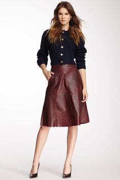 Carven | Leather A-line skirt | NET-A-PORTER.COM | lady clothes ...