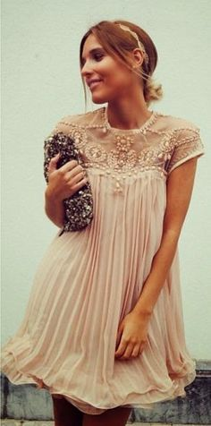 Embellished Pleated Dolly Dress in Nude Pink