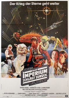 Vintage Star Wars Empire Strikes Back German Poster Any defects are shown in the pictures. Poster is perfect for framing. Kenny Baker, Star Wars Comics, Mark Hamill, Star Wars Day, Star Wars Clone Wars, Original Movie Posters, Movie Poster Art, Harrison Ford, Carrie Fisher