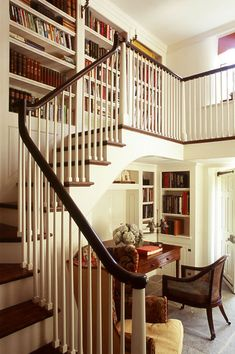 Florida House - office under stairs and bookcases.the design is a little too english mid century for me but the idea is good House Design, House, Traditional Staircase, Home, Home Libraries, House Styles, New Homes, Stairs, Office Under Stairs